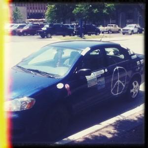 Peace symbol car
