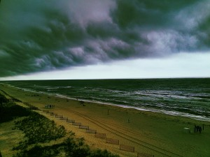 Rain rolling into Orange Beach, Alabama