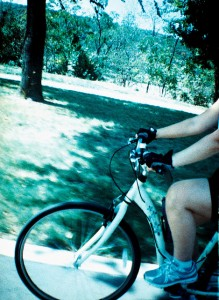 YogiCam view of Heather Riding her Bike