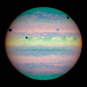 """""""Overhead"""" Projection of Large Comet Impact on Jupiter"""