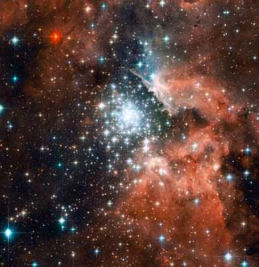 Star Cluster Bursts into Life in New Hubble Image