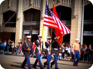 Marines with Flag
