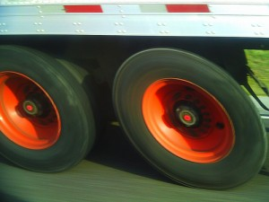 Truck Tires with Red Rims Lartigue Effect