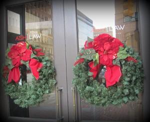 Wreaths on Law Office Door