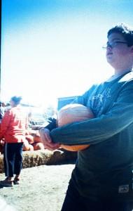 Logan with Pumpkin 1