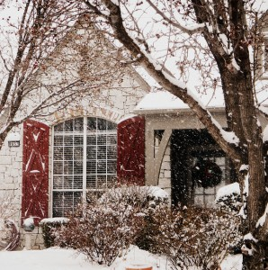 House with Snow and New Paint on Shutters
