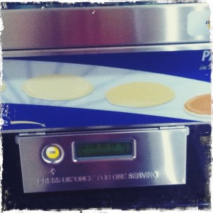 Automatic pancake machine at Holiday Inn. It is radical technology like this that keeps America strong.